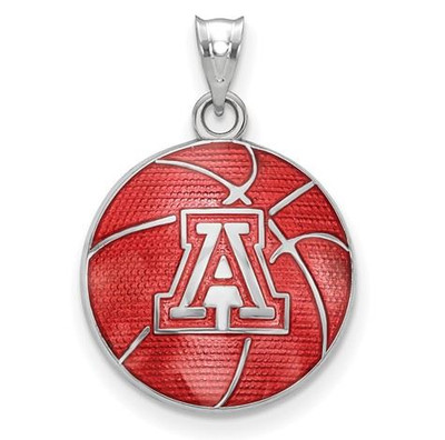 Sterling Silver The University of Arizona Enameled Basketball Pendant | Logo Art | SS509UAZ