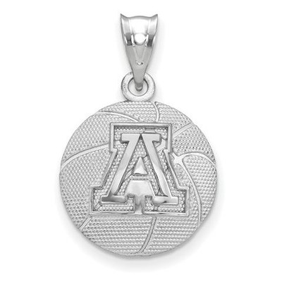 University of Arizona Sterling Silver Basketball Pendant | Logo Art | SS507UAZ