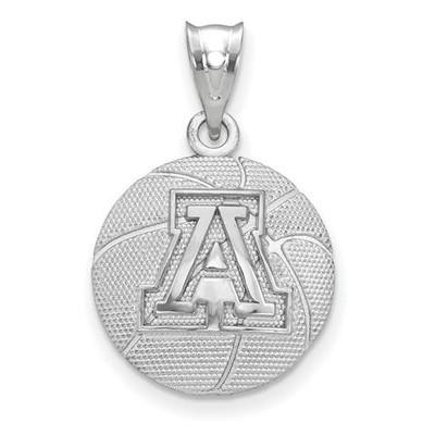 University of Arizona Sterling Silver Basketball Pendant | Logo Art | SS507UAZ