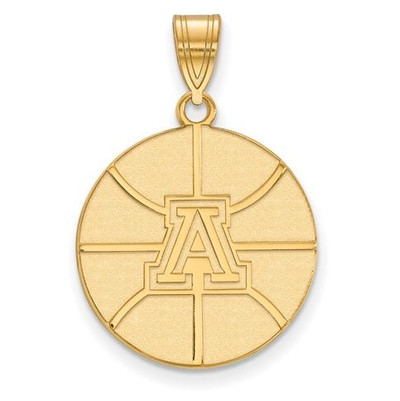 University of Arizona Sterling Silver Gold Plated Large Pendant | Logo Art | GP037UAZ