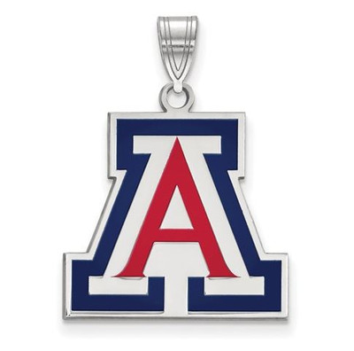 University of Arizona Sterling Silver Large Enameled Pendant | Logo Art | SS019UAZ