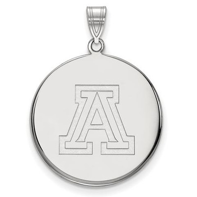 University of Arizona 10k White Gold Extra Large Disc Pendant | Logo Art | 1W041UAZ