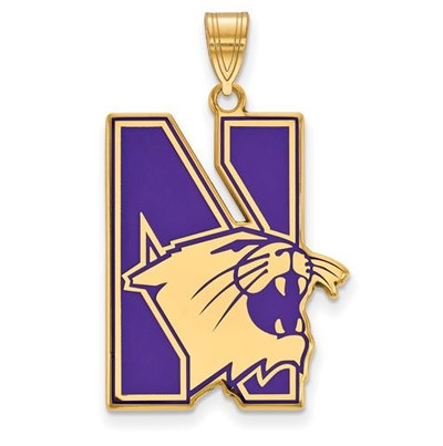 Northwestern University Sterling Silver Gold Plated Extra Large Enameled Pendant | Logo Art | GP009NWU