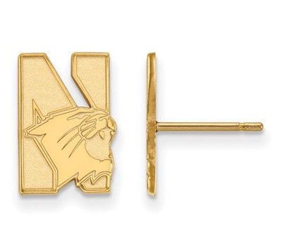 Northwestern University 10k Yellow Gold Small Post Earrings | Logo Art | 1Y004NWU