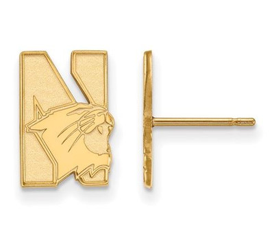 Northwestern University 14k Yellow Gold Small Post Earrings | Logo Art | 4Y004NWU