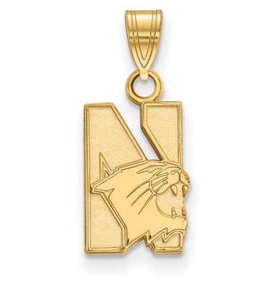 Northwestern University Wildcats Sterling Silver Gold Plated Small Pendant | Logo Art | GP001NWU