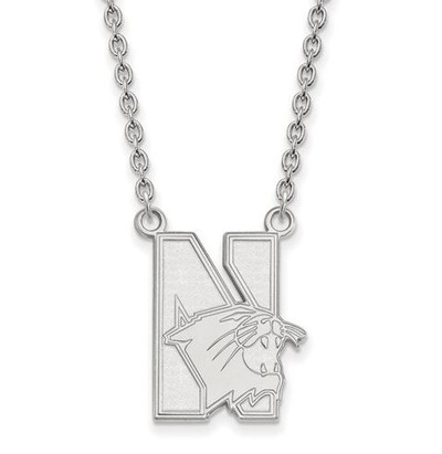 Northwestern University 14k White Gold Large Pendant Necklace | Logo Art | 4W008NWU-18