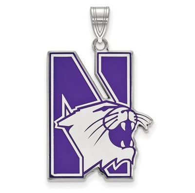 Northwestern University Sterling Silver Extra Large Enameled Pendant | Logo Art | SS009NWU