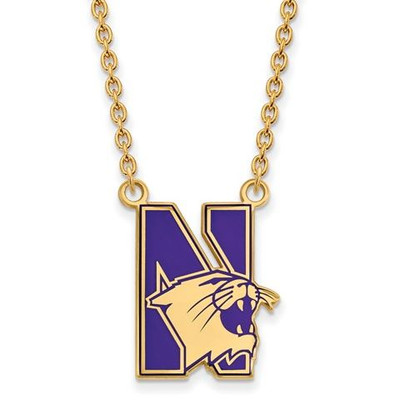 Northwestern University Sterling Silver Gold Plated Large Enameled Pendant Necklace | Logo Art | GP010NWU-18