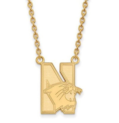 Northwestern University 14k Yellow Gold Large Pendant Necklace | Logo Art | 4Y008NWU-18