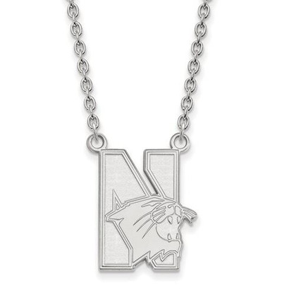 Northwestern University 10k White Gold Large Pendant Necklace | Logo Art | 1W008NWU-18