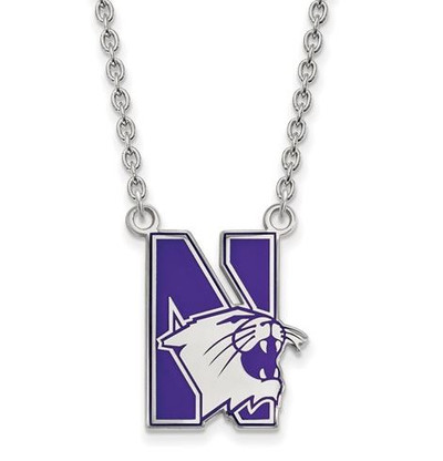 Northwestern University Sterling Silver Large Enameled Pendant Necklace | Logo Art | SS010NWU-18