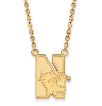 Northwestern University 10k Yellow Gold Large Pendant Necklace | Logo Art | 1Y008NWU-18