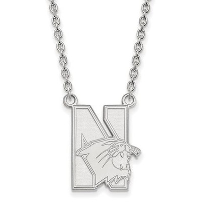 Northwestern University Sterling Silver Large Pendant Necklace | Logo Art | SS008NWU-18