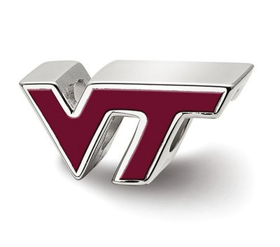 Virginia Tech Sterling Silver VT Enameled Logo Bead | Logo Art | SS500VTE