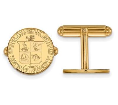 Virginia Tech Sterling Silver Gold Plated Crest Cufflinks | Logo Art | GP065VTE
