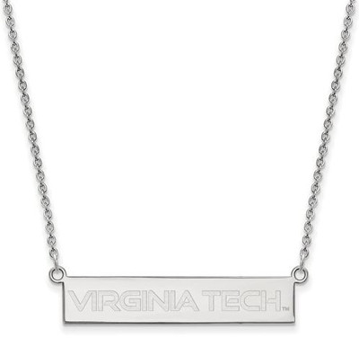 Virginia Tech Sterling Silver Small Bar Necklace | Logo Art | SS082VTE-18