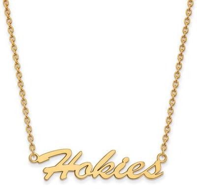 Virginia Tech Sterling Silver Gold Plated Medium Pendant Necklace | Logo Art | GP067VTE-18