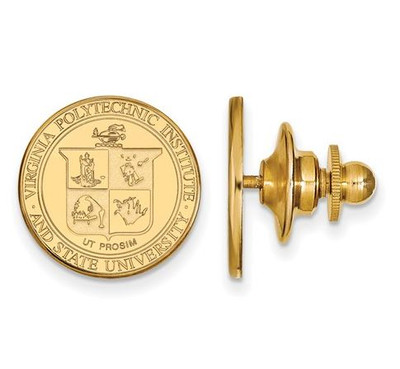 Virginia Tech Sterling Silver Gold Plated Crest Lapel Pin | Logo Art | GP064VTE