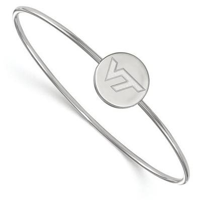 Virginia Tech Sterling Silver Wire Bangle Bracelet | Logo Art | SS073VTE-6