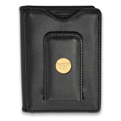 Virginia Tech Sterling Silver Gold Plated Black Leather Wallet | Logo Art | GP071VTE-W1