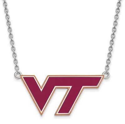 Virginia Tech Sterling Silver Large Enameled Pendant Necklace | Logo Art | SS080VTE-18
