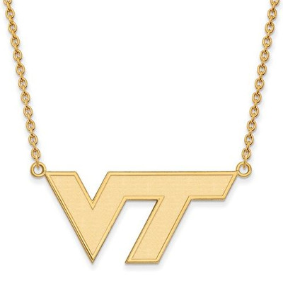 Virginia Tech Sterling Silver Gold Plated Large Pendant Necklace | Logo Art | GP010VTE-18