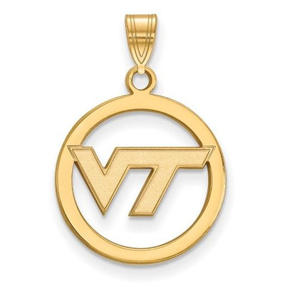 Virginia Tech Sterling Silver Gold Plated Small Circle Pendant | Logo Art | GP027VTE