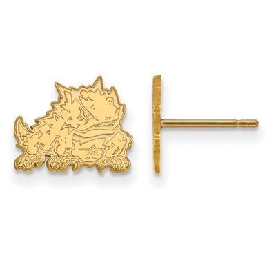 TCU 14k Yellow Gold Extra Small Post Earrings | Logo Art | 4W022TCU