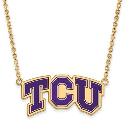 TCU Sterling Silver Gold Plated Large Enameled Pendant Necklace | Logo Art | GP042TCU-18