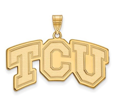 TCU Horned Frogs Sterling Silver Gold Plated Large Pendant | Logo Art | GP004TCU