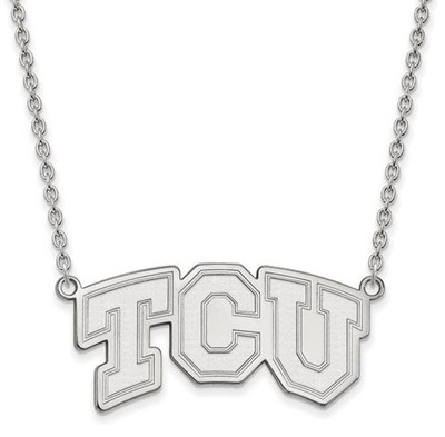 TCU 14k White Gold Large Pendant Necklace | Logo Art | 4W006TCU-18