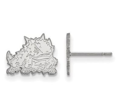 TCU 14k White Gold Extra Small Post Earrings | Logo Art | 4W022TCU