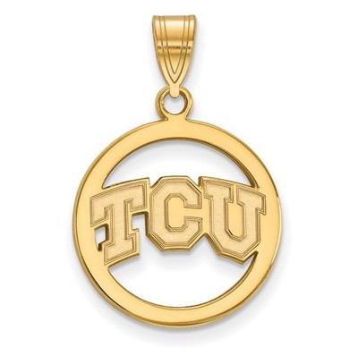 TCU Sterling Silver Gold Plated Small Circle Pendant | Logo Art | GP012TCU