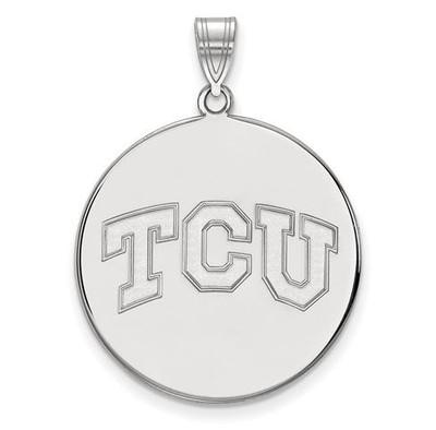 TCU 10k White Gold Extra Large Disc Pendant | Logo Art | 1W038TCU