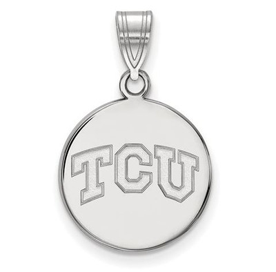 TCU 14k White Gold Medium Disc Pendant | Logo Art | 4W037TCU