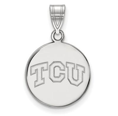 TCU 14k White Gold Medium Disc Pendant | Logo Art | 4W037TCU