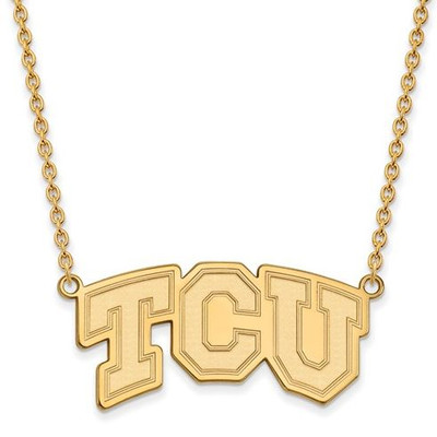 TCU Sterling Silver Gold Plated Large Pendant Necklace | Logo Art | GP006TCU-18