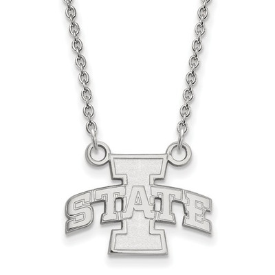 Iowa State University Sterling Silver Small Pendant Necklace | Logo Art | 1Y007IAS-18