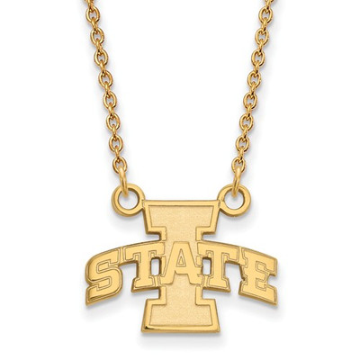 Iowa State University Sterling Silver Gold Plated Small Pendant Necklace | Logo Art | 1Y007IAS-18