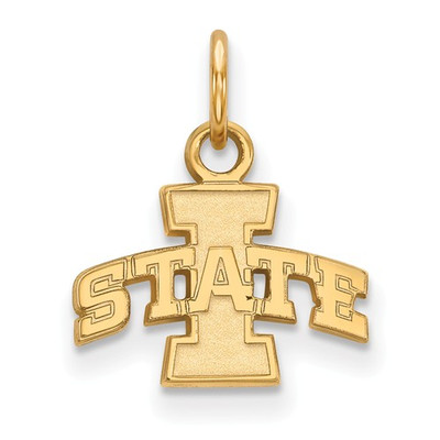 Iowa State University Sterling Silver Gold Plated Extra Small Pendant | Logo Art | GP001IAS