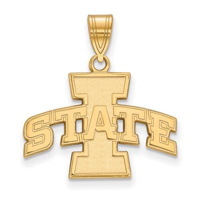 Iowa State University Sterling Silver Gold Plated Medium Pendant | Logo Art | GP003IAS