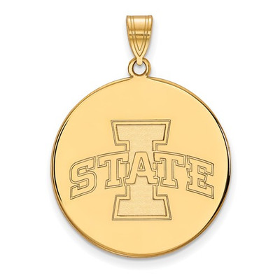 Iowa State University Sterling Silver Gold Plated Extra Large Disc Pendant | Logo Art | GP042IAS