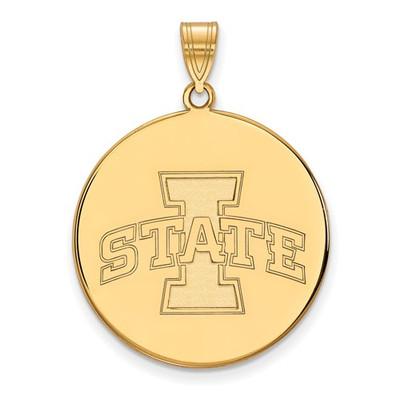 Iowa State University 14k Yellow Gold Extra Large Disc Pendant | Logo Art | 4W030IAS