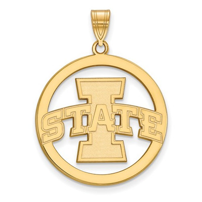 Iowa State University Sterling Silver Gold Plated Large Circle Pendant | Logo Art | GP012IAS