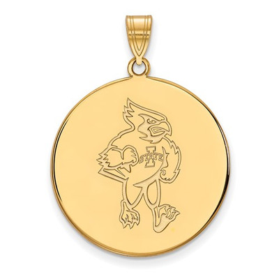 Iowa State University Cyclones Sterling Silver Gold Plated Extra Large Disc Pendant | Logo Art | GP039IAS