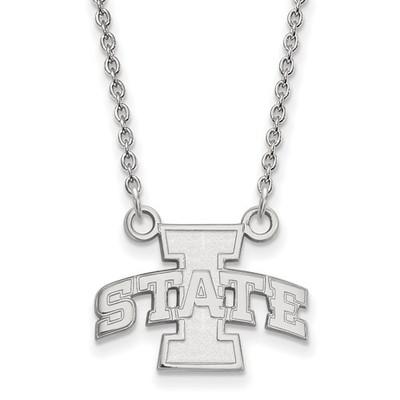 Iowa State University 14k White Gold Small Pendant Necklace | Logo Art | 4W006IAS-18
