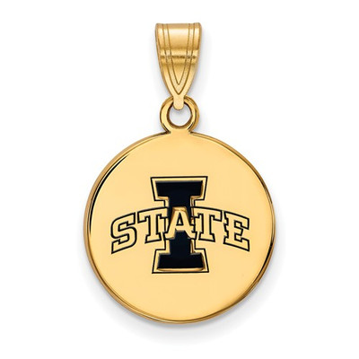 Iowa State University Sterling Silver Gold Plated Med Enameled Disc Pendant | Logo Art | GP043IAS