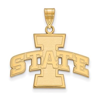 Iowa State University Sterling Silver Gold Plated Large Pendant | Logo Art | GP004IAS