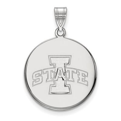 Iowa State University 10k White Gold Large Disc Pendant | Logo Art | 1W041IAS